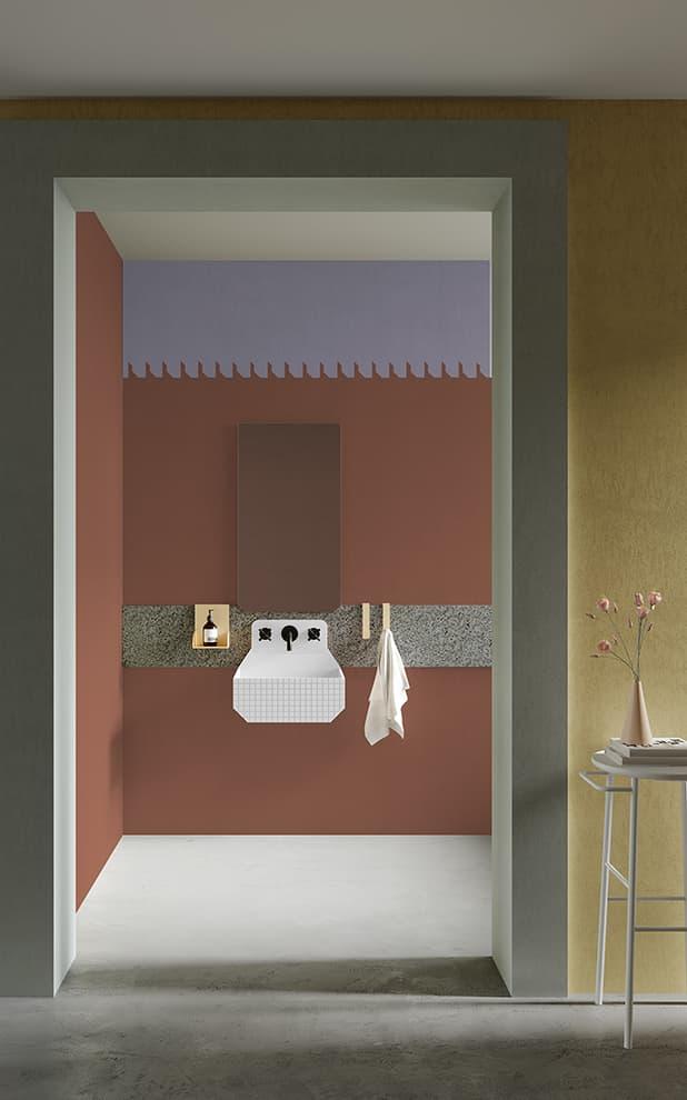 Papier peint décoratif Frieze et vasque Frieze One High Checkered. Design Marcante-Testa – ex.T