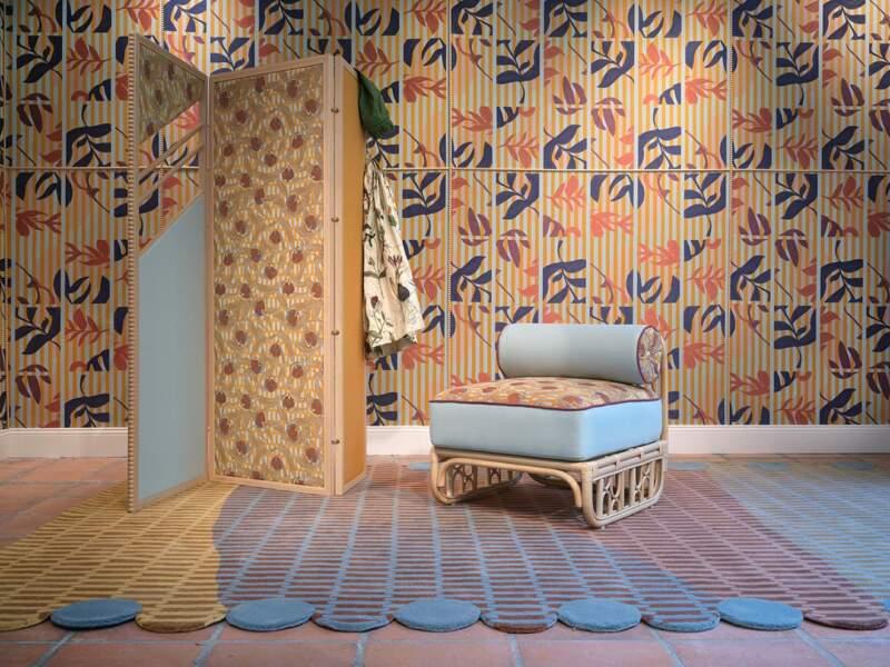 Papier peint textile Été-indien. Design Cristina Celestino. Collection Intérieur aux aubergines – Maison Matisse