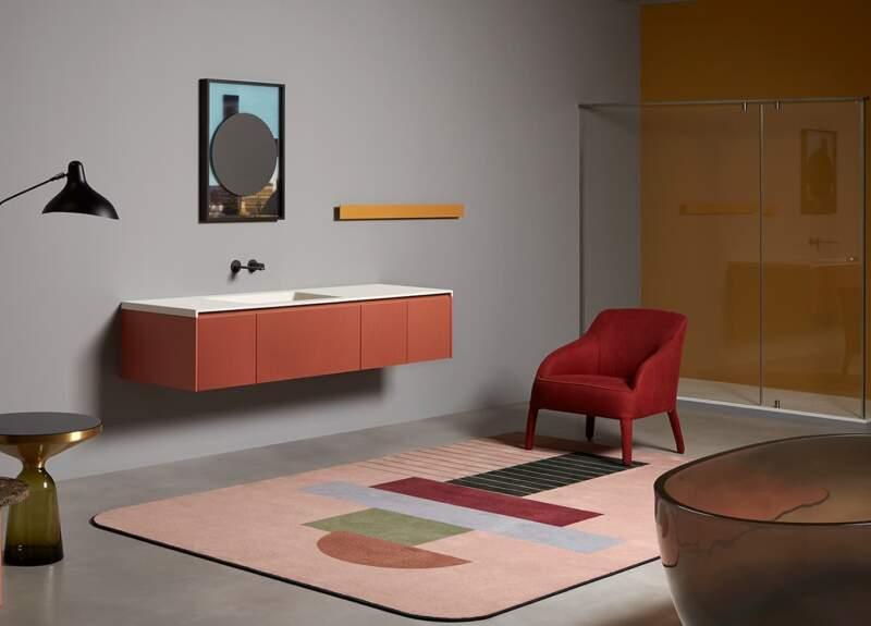 Plan vasque Binario 03 en Colormood et laque Veneziano – Design Nevio Tellatin – Antoniolupi